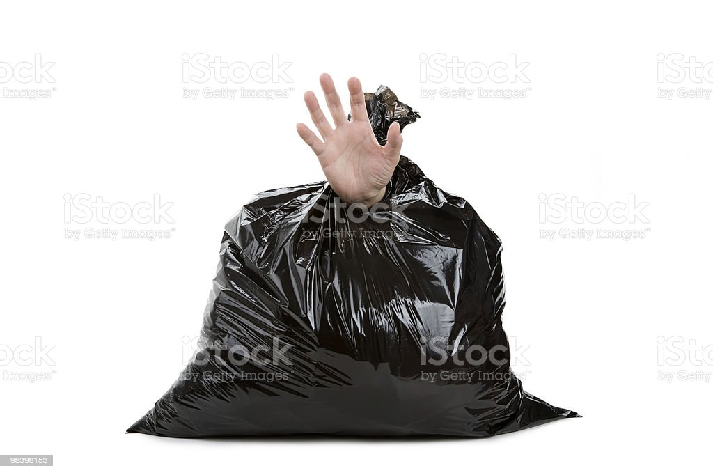 Garbage Bag and hand royalty-free stock photo