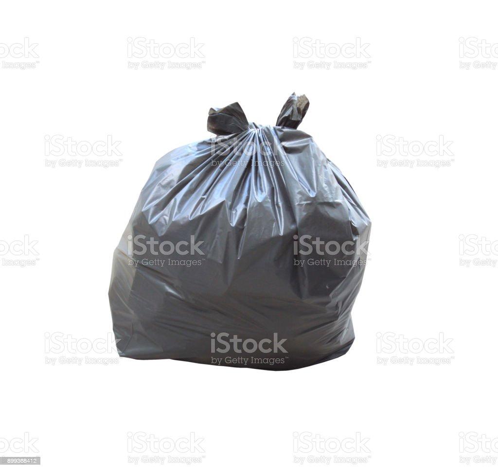 Müllsack haben Abfall innen isoliert auf weißem Hintergrund und Clipping-Pfad. – Foto
