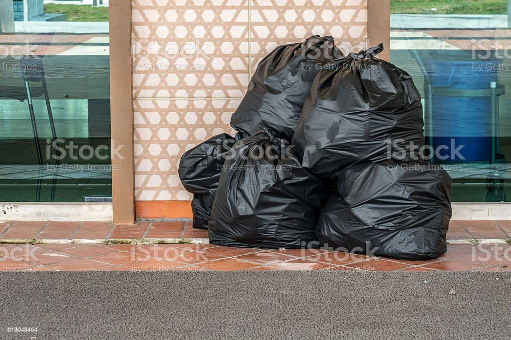 Garbage bag on the floor stock photo