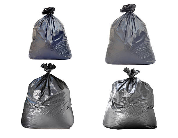 garbage bag on white background stock photo