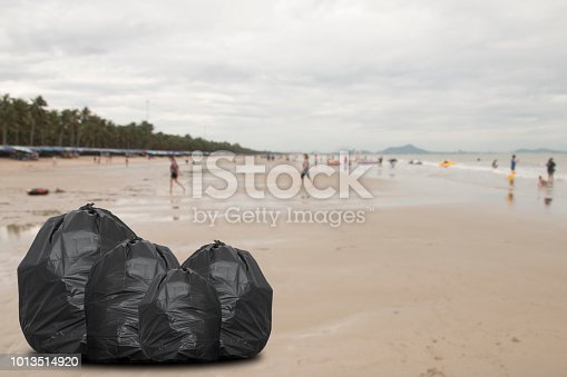 garbage bag the beach, environmental pollution concept picture