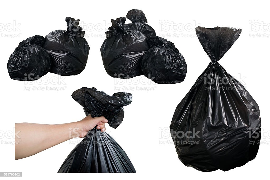 Garbage Bags and hold Black Garbage Bags isolate on white – Foto