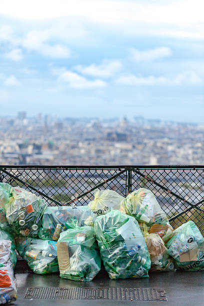Garbage bags at Montmartre stock photo