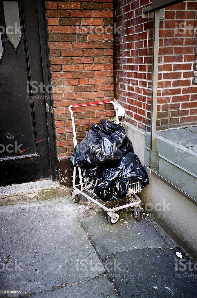 Garbage Bags In Shopping Cart stock photo