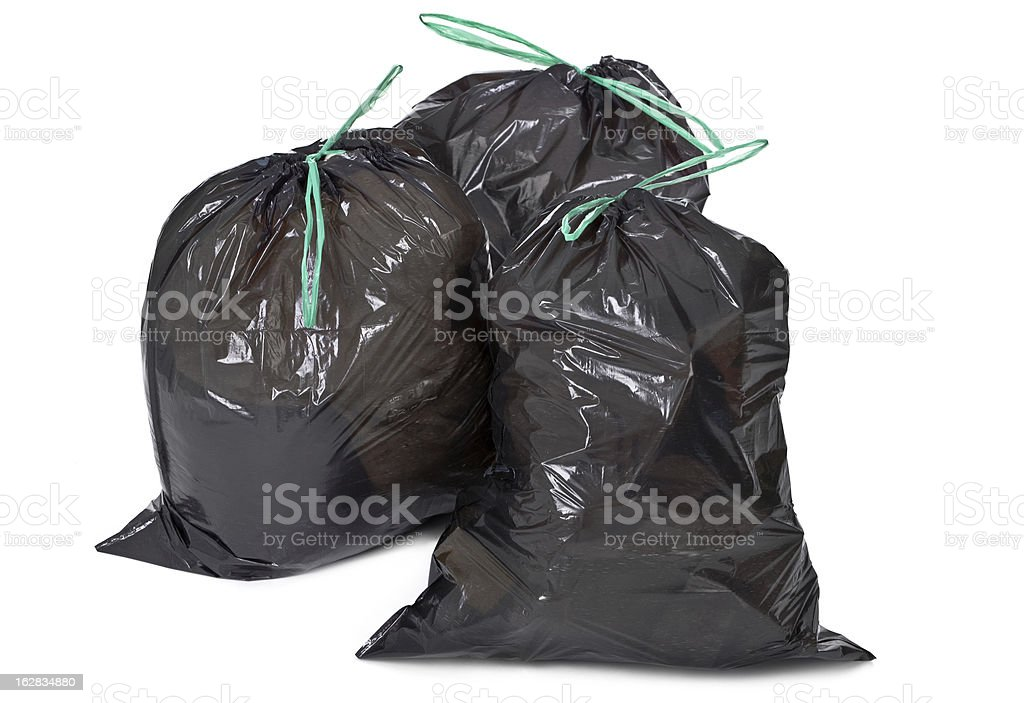 garbage bags on white stock photo