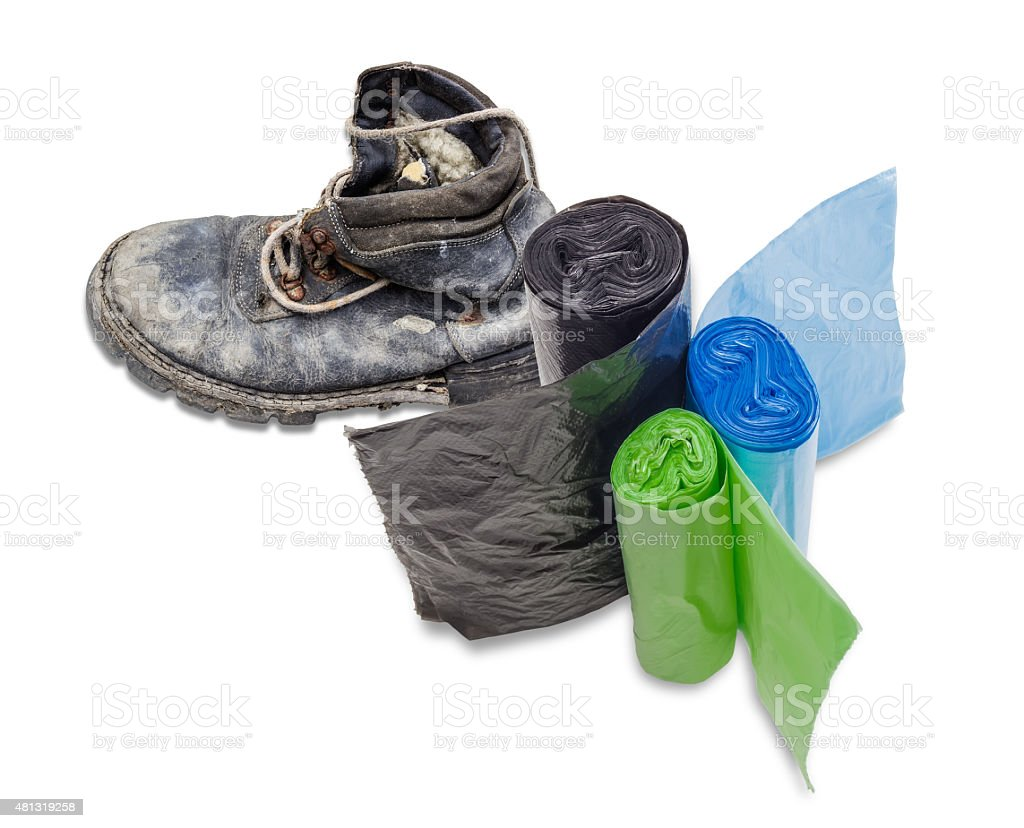 Garbage bags stock photo