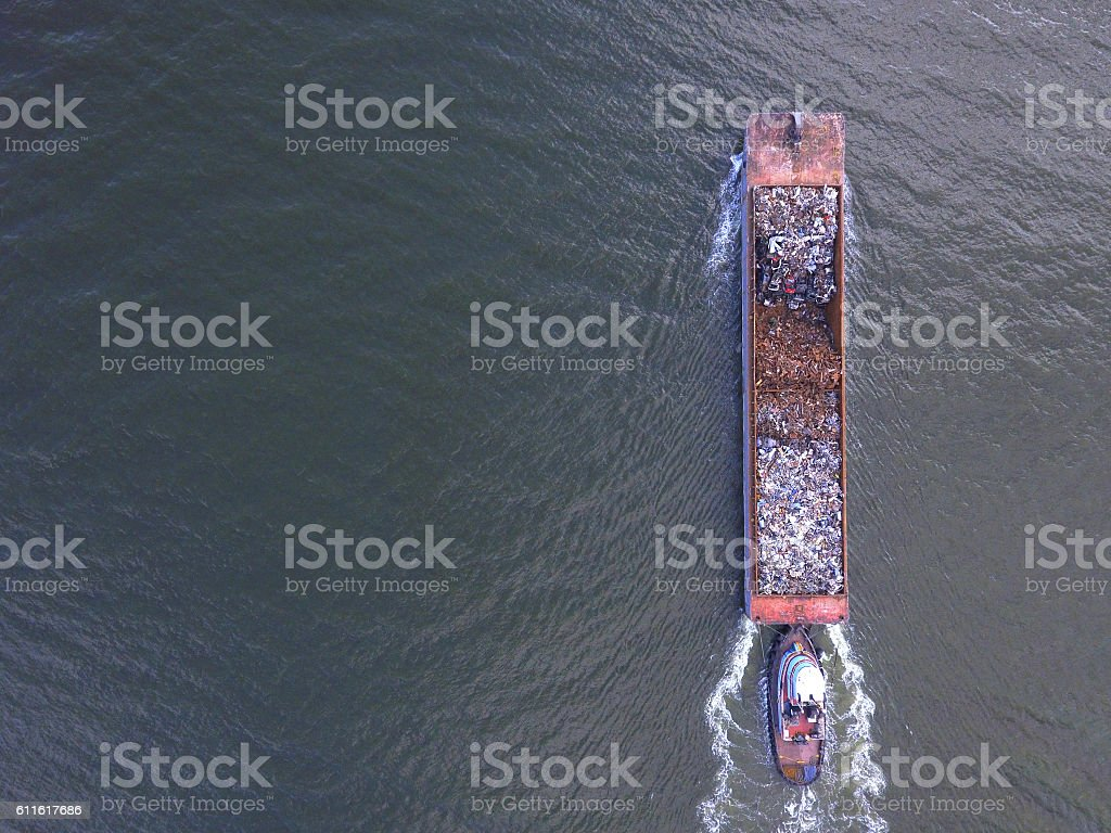 Garbage barge in the Hudson River stock photo