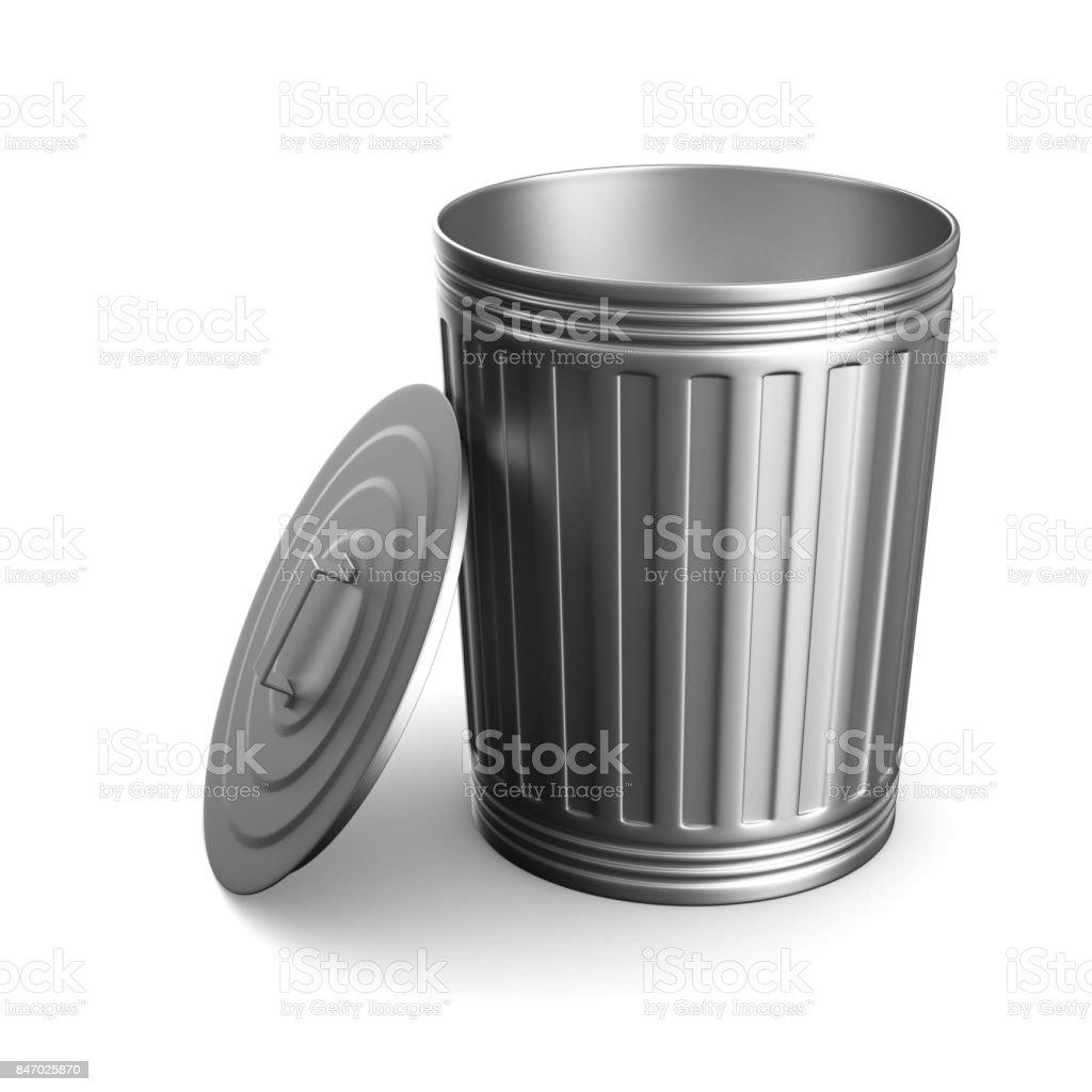 Garbage basket on white background. Isolated 3D illustration stock photo