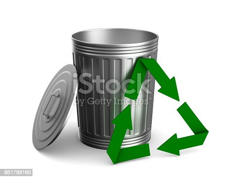istock Garbage basket on white background. Isolated 3D illustration 851789160