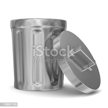 istock Garbage basket on white background. Isolated 3D image 176991783