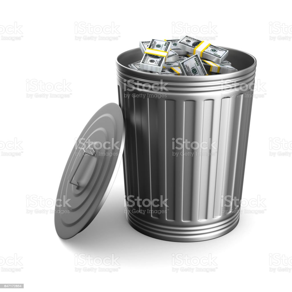 Garbage basket with dollars on white background. Isolated 3D illustration stock photo