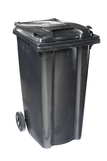 Garbage bin isolated on white stock photo