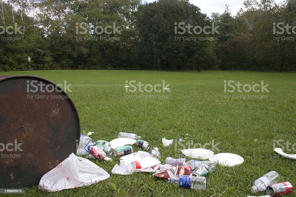 garbage bin vandalized royalty-free stock photo
