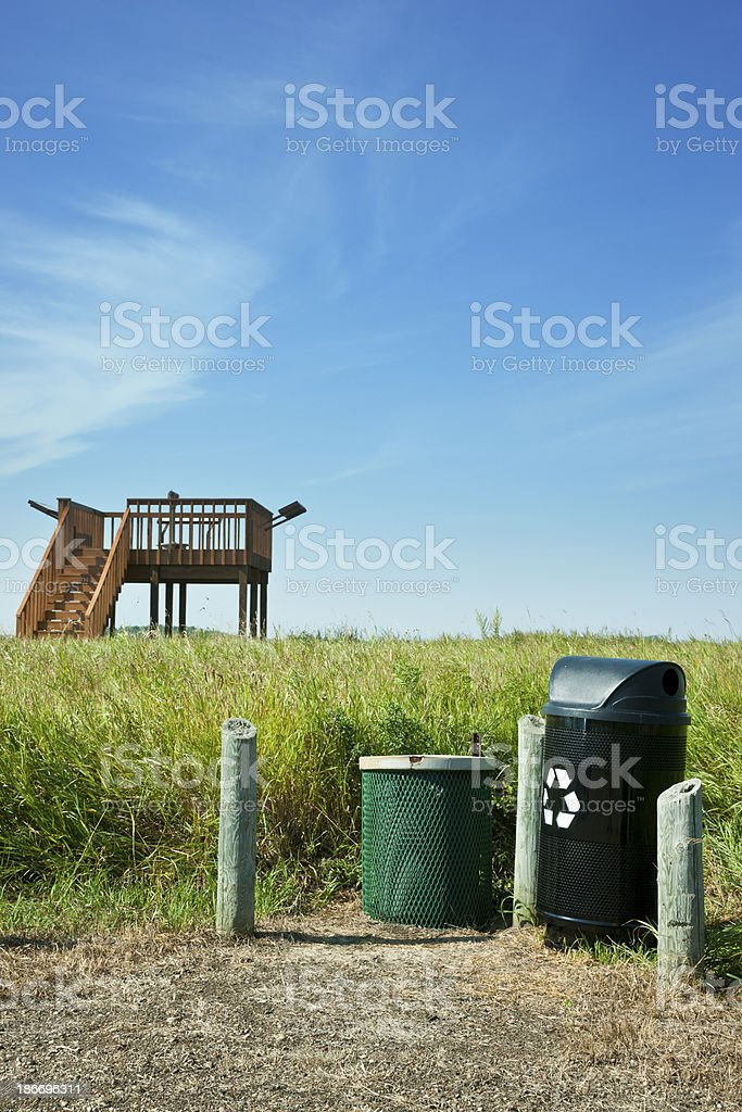 Garbage Bins at Nature Lookout royalty-free stock photo