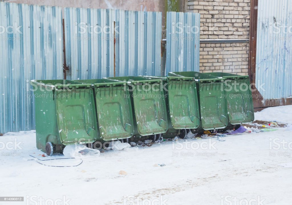 garbage bins by the street stock photo