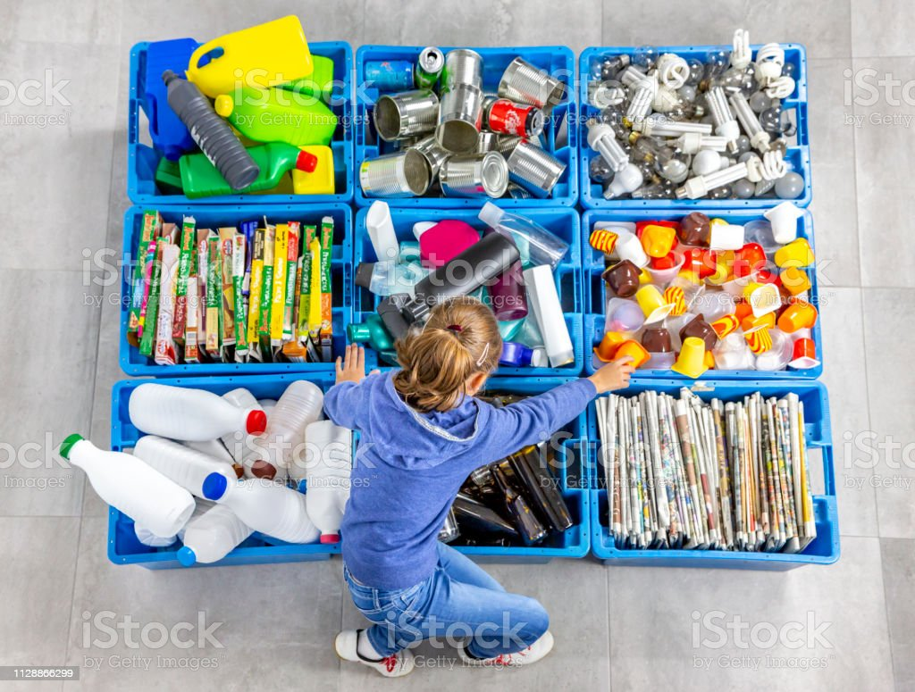 Garbage bins for recycling. Education. royalty-free stock photo