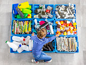 istock Garbage bins for recycling. Education. 1128866299