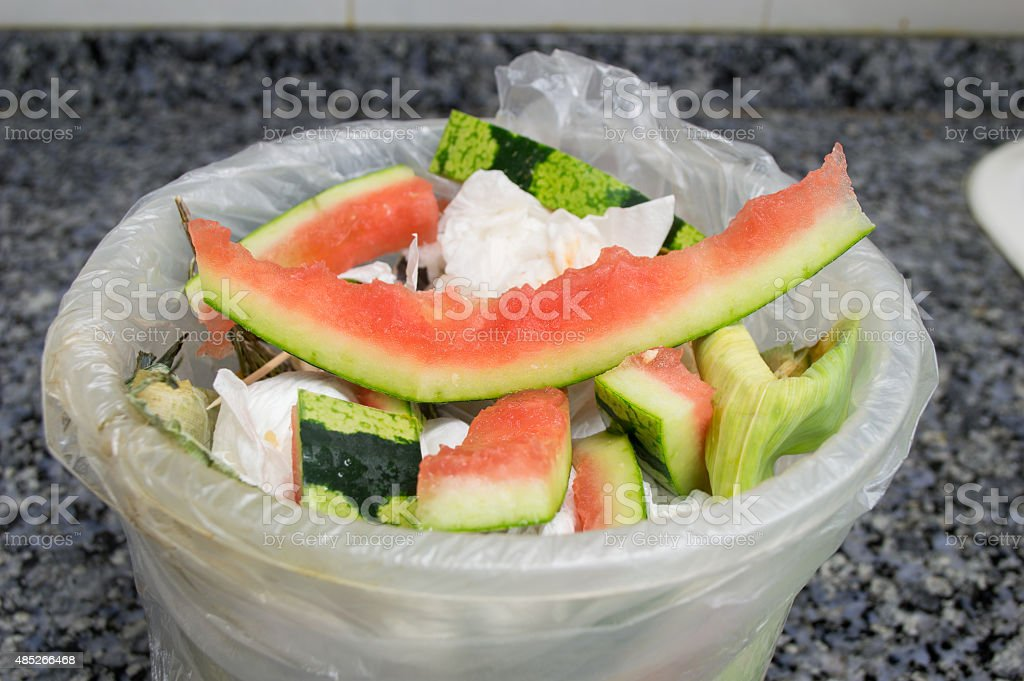 garbage bucket at the kitchen stock photo