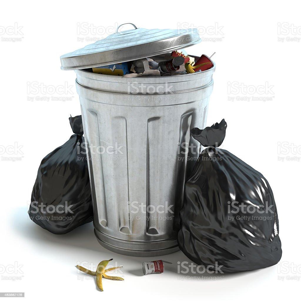 Cubo de basura y bolsas - foto de stock