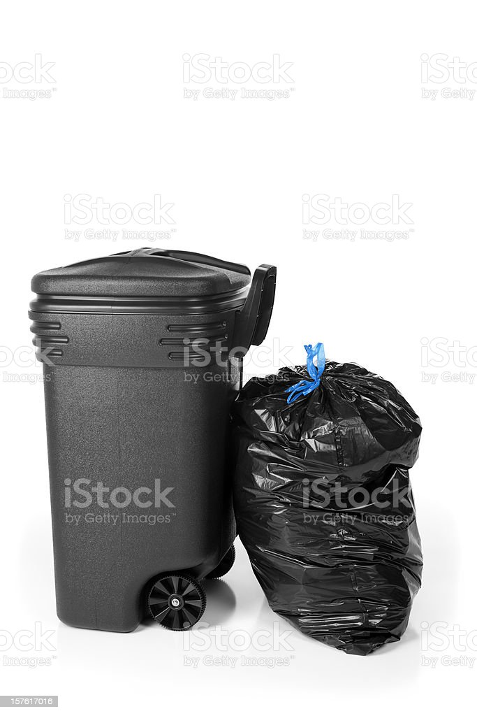 Garbage Can and Trash Bag royalty-free stock photo