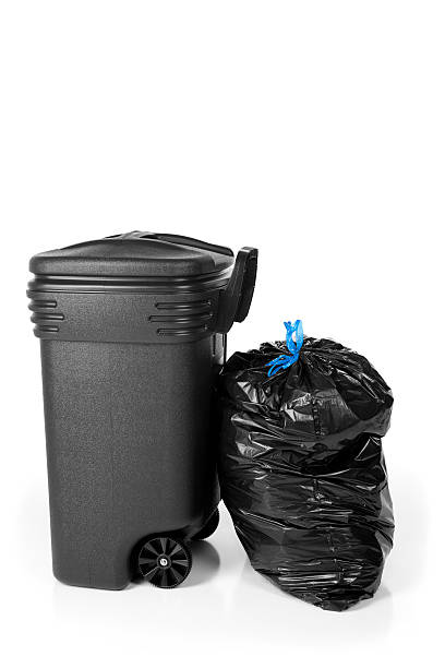 Garbage Can and Trash Bag stock photo