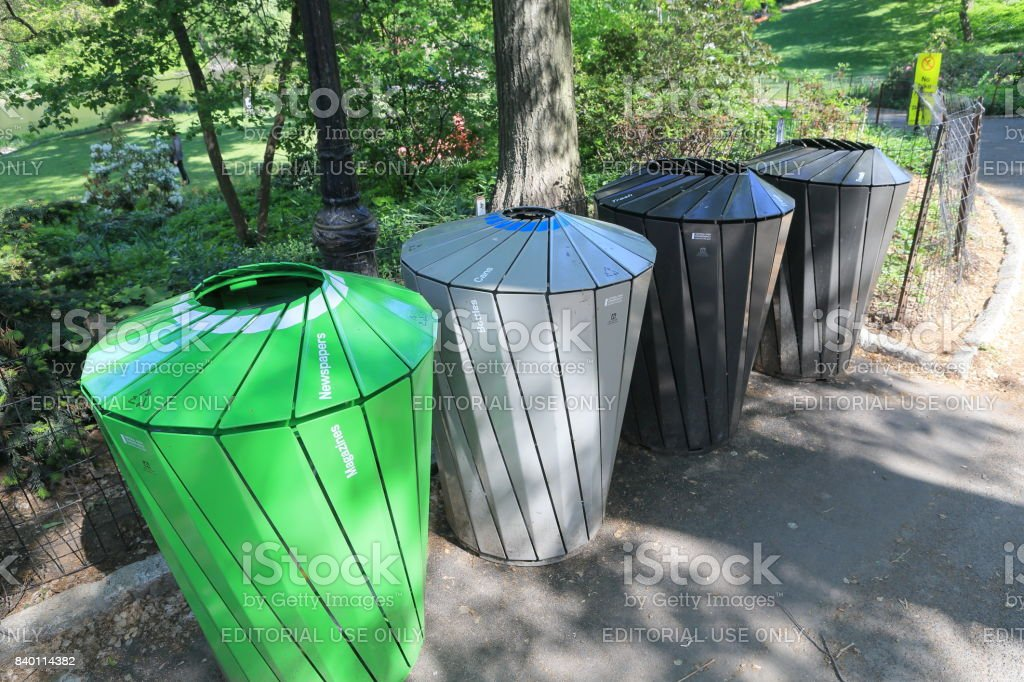 Garbage Can at Central Park in NYC stock photo