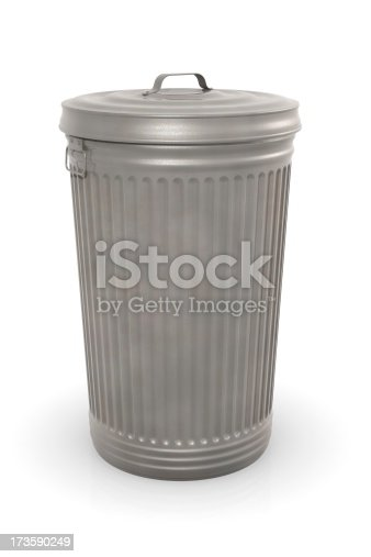 Old metal garbage can with lid on a white background.This could be useful element in a waste or garbage composition. This is a detailed 3d rendering.