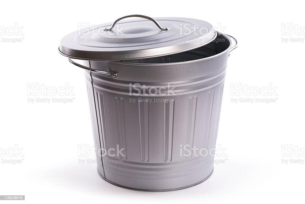 White Metal Garbage Can.Metal Trash Can Vector Art. Trash