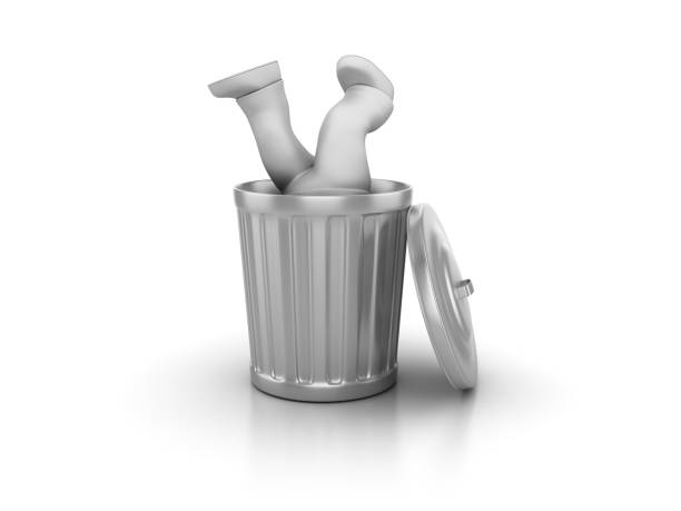 Garbage Can with Business Character - 3D Rendering stock photo