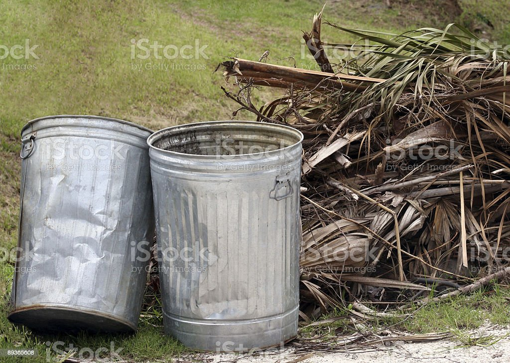 garbage cans and yard waste royalty-free stock photo