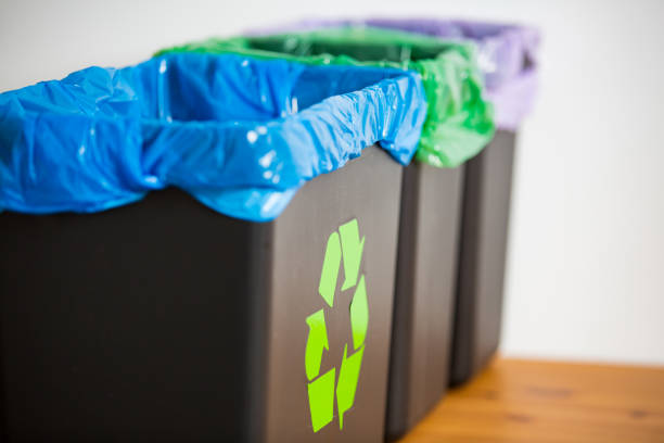 Garbage cans. stock photo