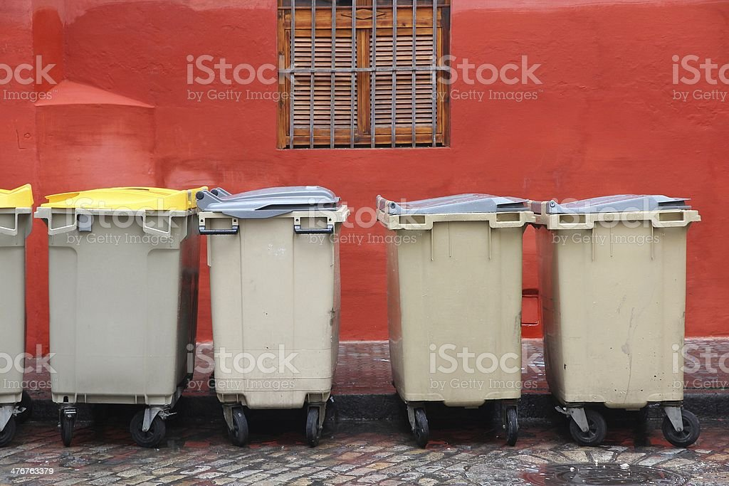 Garbage containers in Spain royalty-free stock photo