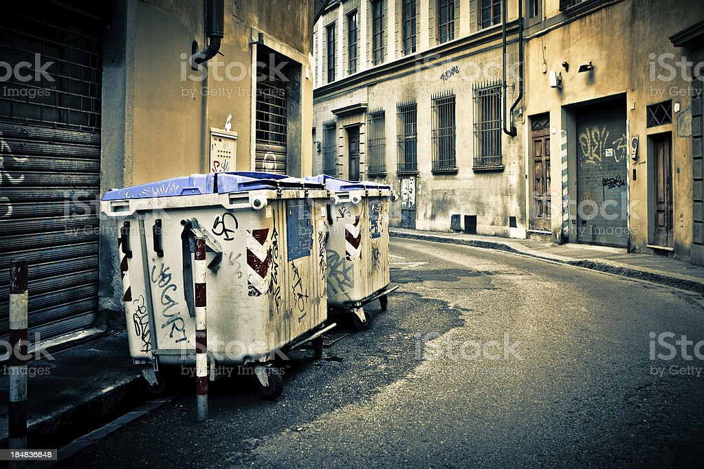 Garbage Containers in the Streets of Florence, Italy royalty-free stock photo