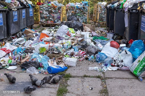 Lviv, Ukraine - September 9, 2020. Garbage containers with unsorted trash. Rubbish and trash bags lying around dump. Pile of waste.