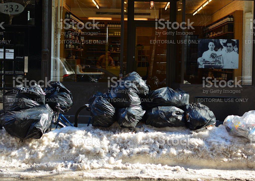 Garbage crisis manhatten following snow storm stock photo