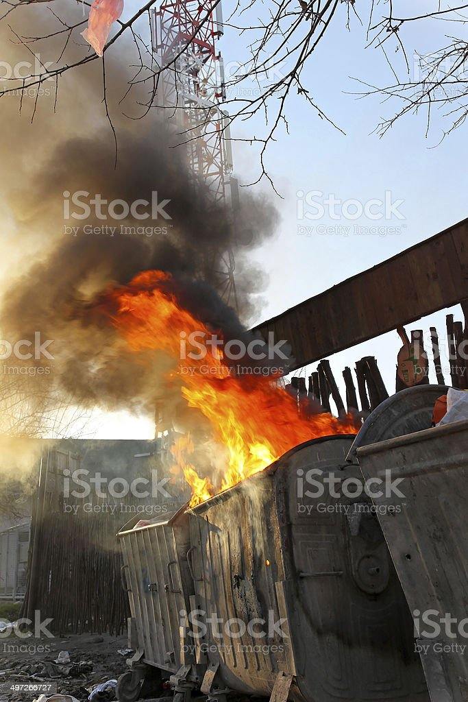 Garbage fire stock photo