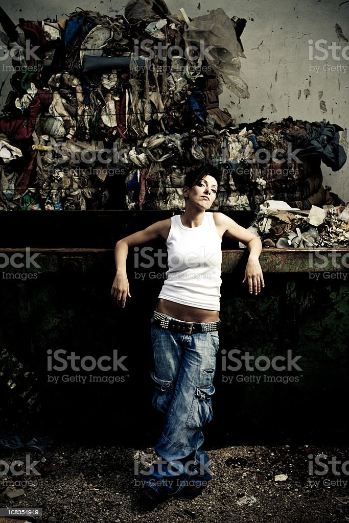 Garbage girl royalty-free stock photo