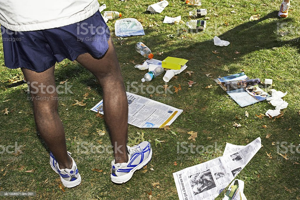 Garbage in park royalty-free stock photo