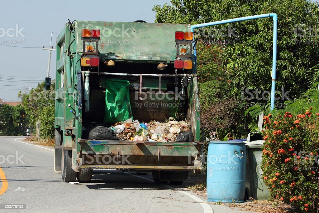Garbage in the garbage truck stock photo