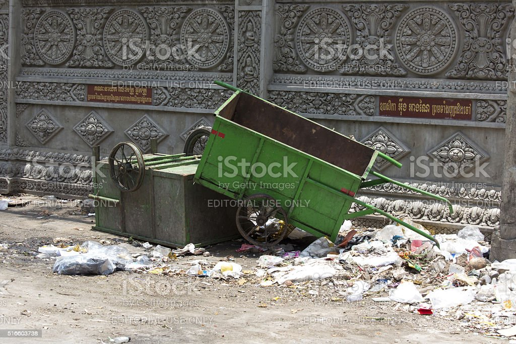 garbage in the street of Phnom Phen, Cambodia stock photo