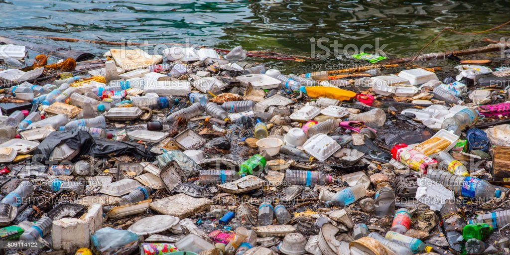 Garbage in the water stock photo