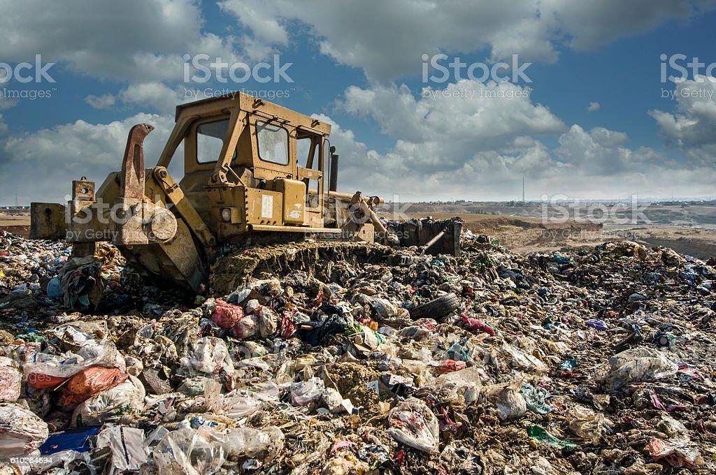 Garbage mountain stock photo