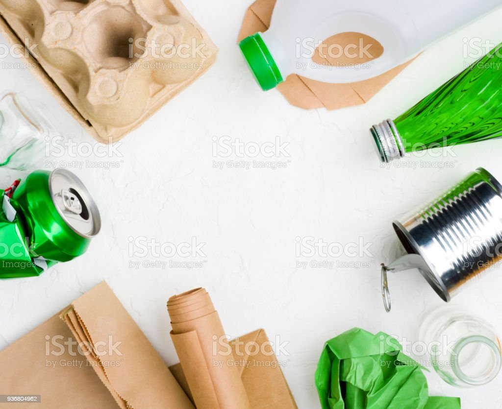 Garbage on abstract white background for recycling or reuse concept royalty-free stock photo