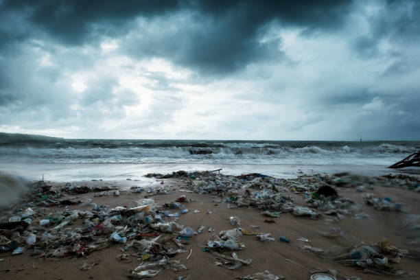 Garbage on beach, environmental pollution in Bali Indonesia. Storm is coming. And drops of water are on camera lens Garbage on beach, environmental pollution in Bali Indonesia. Storm is coming on background. And drops of water are on camera lens. Dramatic view plastic pollution stock pictures, royalty-free photos & images