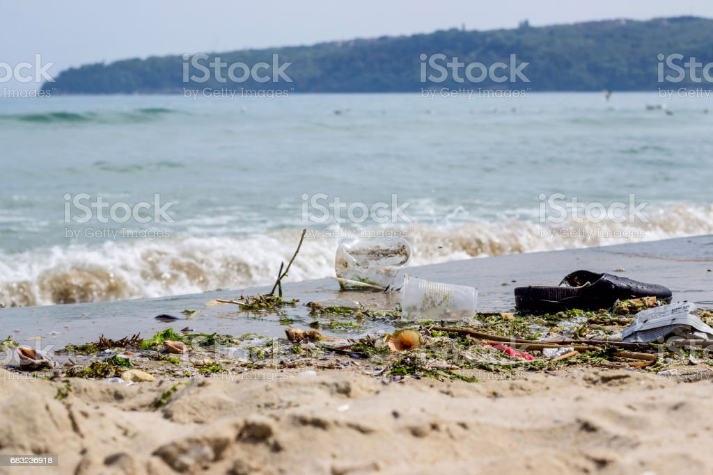 Garbage on the beach royalty-free stock photo