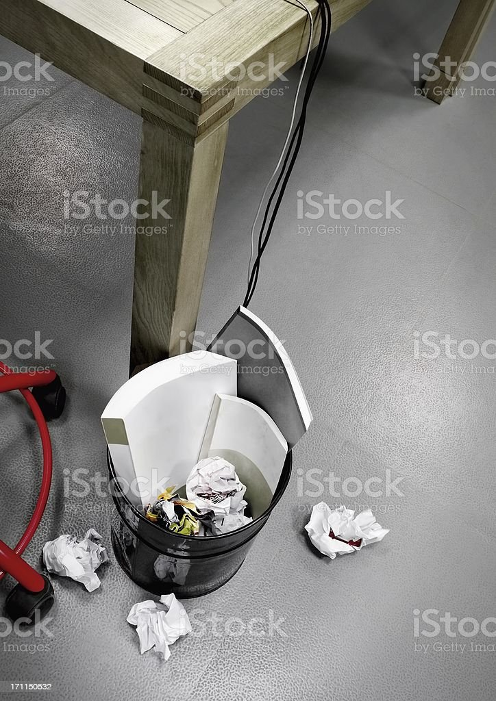 Garbage pail full of office royalty-free stock photo