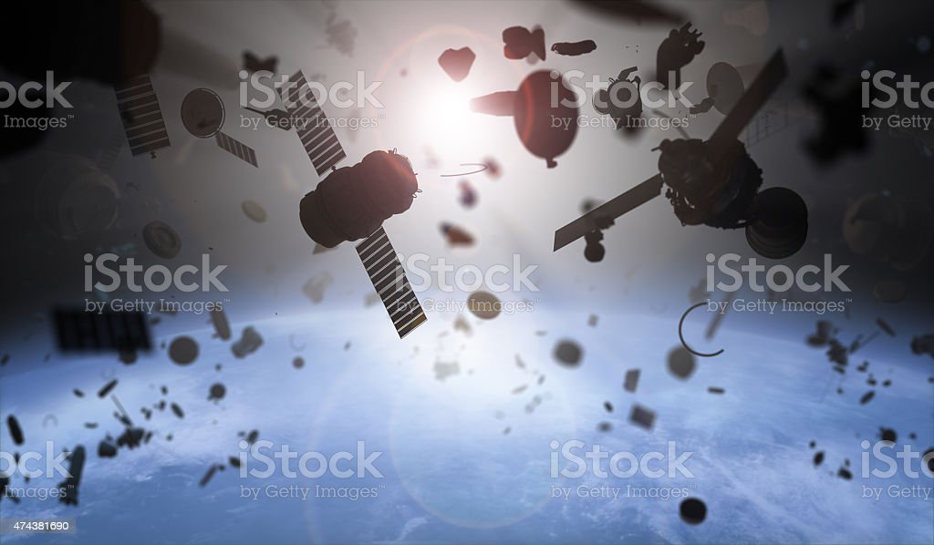 Garbage Toxic garbage in the space over Earth 2015 Stock Photo