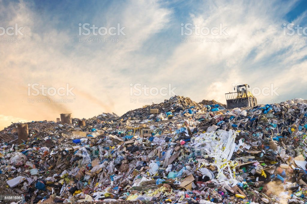Garbage pile in trash dump or landfill. Pollution concept. stock photo