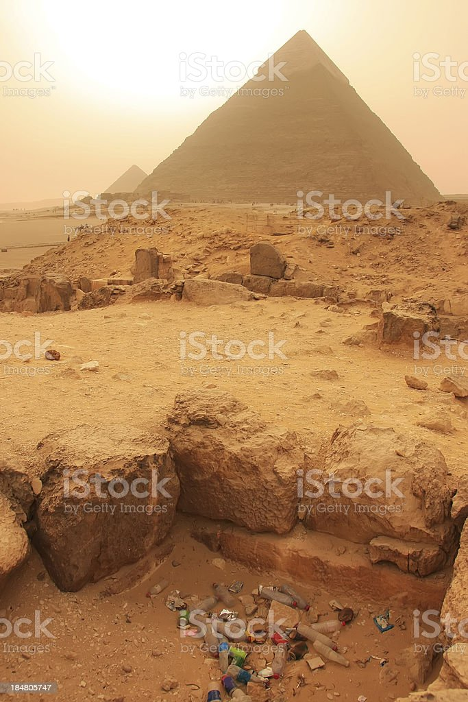 Garbage pile near Pyramid of Khafre, Cairo royalty-free stock photo