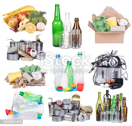 Garbage prepared for recycling isolated on white background
